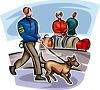 Airport Security Dog Checking Luggage clipart