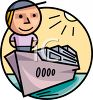 Cartoon Character on a Cruise Ship clipart