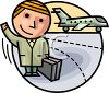 Cartoon Character at the Airport clipart