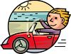 Cartoon Character Driving on a Road Trip clipart