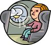 Cartoon Character on an Airplane clipart