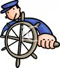 Ship's Captain at the Wheel clipart
