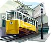 Realistic Style Electric Streetcar clipart