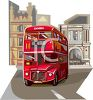 Realistic Style Double Decker Bus in London clipart