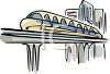 Monorail Train in a City clipart