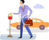 Businessman Putting Money in a Parking Meter clipart