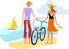 Young Couple Walking on the Beach clipart