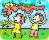 Cartoon Kids Flying a Chinese Dragon Kite clipart