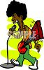 Black Guy with an Afro Singing and Playing the Guitar clipart