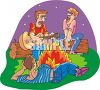 Guys Singing Around a Campfire clipart