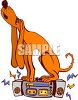 Singing Hound Sitting on a Boombox clipart