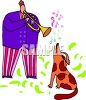 Man Playing a Horn with His Singing Dog clipart