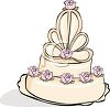 Elegant Wedding Cake with Roses clipart