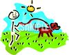 Stick figure kid walking the dog on a sunny day clipart