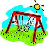 Stick figure kid swinging on a playground swing clipart