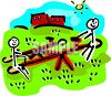 Stick figure kids playing on a teeter totter on a sunny summer day clipart