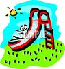 Stick figure child sliding down a slide on the playground clipart