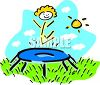 Stick figure girl bouncing on trampoline clipart