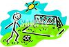 Stick figure boy playing soccer clipart