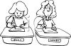 Cartoon of a Student Cheating off Another Student's Test clipart