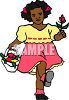 Little African American Girl Skipping Holding a Basket of Flowers clipart