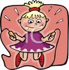 Cartoon of a Little Blond Girl Jumping Rope clipart