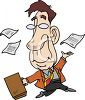 Carefree Business Man Skipping Along Throwing His Paperwork Around clipart
