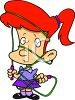 Cartoon of a Red Haired Girl Tangled Up in Her Jump Rope clipart