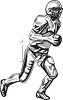 Black and White Football Player Running with the Ball clipart