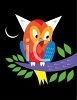 Cute little owl at night clipart