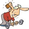 Cartoon of a Man Sweating While Lifting Weights clipart