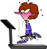 Cartoon of an Exhausted Woman Sweating on a Treadmill clipart