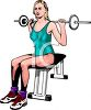 Realistic Style Woman Lifting Weights in a Gym clipart