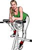 Realistic Style Woman on a Fitness Machine in a Gym clipart