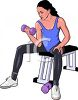 Realistic Style Woman Doing Bicep Curls with Small Weights clipart
