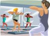 Realistic Style Women Doing Aerobics in a Gym clipart