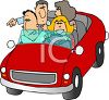 Cartoon of People Out for a Drive clipart