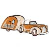 Vintage Car with a Tear Drop Style Camper clipart