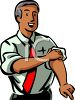 Ethnic Businessman Rolling Up His Sleeves clipart