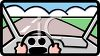 Driver's View of the Road Through the Windshield clipart