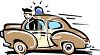 Cartoon of a Retro Policeman Driving Fast clipart