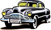 Cartoon Classic Black Sedan clipart