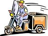 Cartoon of a Vintage Delivery Guy on a Scooter with a Box on the Back clipart