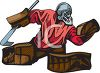 Hockey Goalie Catching the Puck clipart