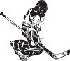 Black and White Hockey Goalie clipart