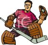 Hockey Goal Keeper Catching the Puck clipart