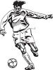 Black and White Soccer Player Running While Kicking the Ball clipart