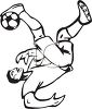 Black and White Soccer Player Passing the Ball clipart