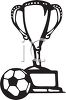 Black and White Soccer Ball and Trophy clipart