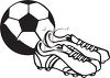 Black and White Soccer Ball and Cleats clipart